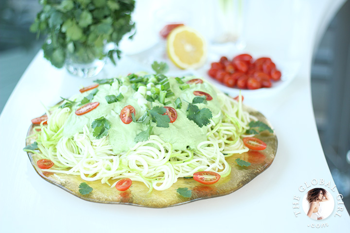 The Global Girl Raw Food Recipes: Step inside The Global Girl kitchen for huge meal of raw vegan zucchini pasta with creamy cashew and cilantro sauce. This quick, easy, gluten-free, dairy-free and super delicious zucchini pasta recipe is perfect to satisfy those carbs and pasta cravings. A feast for all pasta lovers!