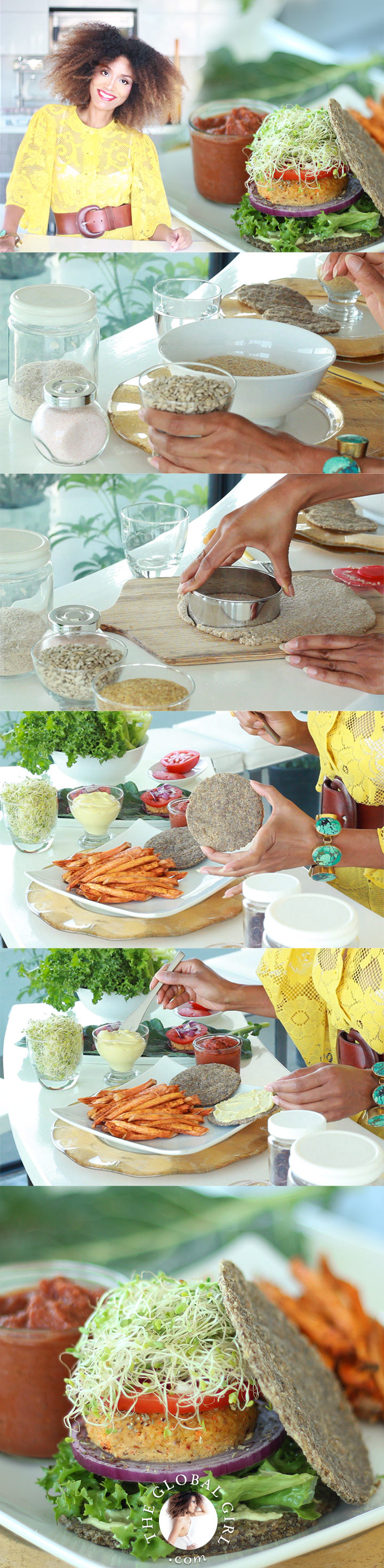 The Global Girl Raw Recipes: Ndoema shares her super simple nut-free, oil-free, grain-free and gluten-free raw vegan burger buns. They're the perfect balance of light and hearty and crunchy but soft. Delish slathered with mayo (the beauty-boosting kind: https://theglobalgirl.com/raw-dressings/) and combined with her no-bake burger patties and no-fry French fries, with a serving fat-free raw vegan ketchup on the side.