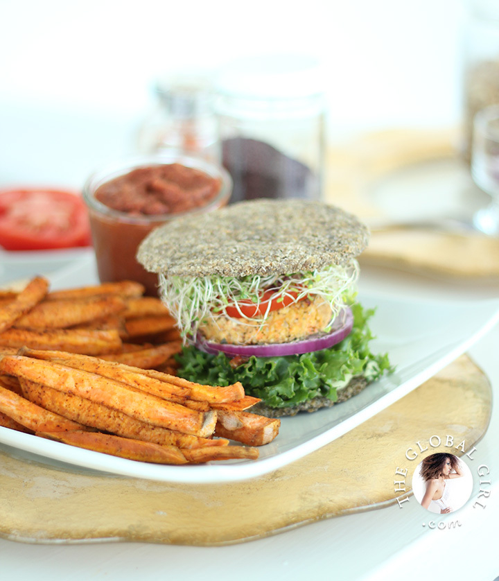 The Global Girl Raw Recipes: These super simple nut-free, oil-free, grain-free and gluten-free raw vegan burger buns are the perfect balance of light and hearty and crunchy but soft. Delish slathered with mayo (the beauty-boosting kind: http://theglobalgirl.com/raw-dressings/) and combined with no-bake burger patties and no-fry French fries, with a serving fat-free raw vegan ketchup on the side.
