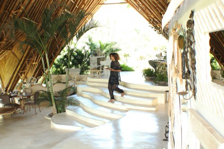The Global Girl Travels: Ndoema enjoys a tropical breakfast at Glamping Hub's luxury glamping tents in Ubud, Bali.