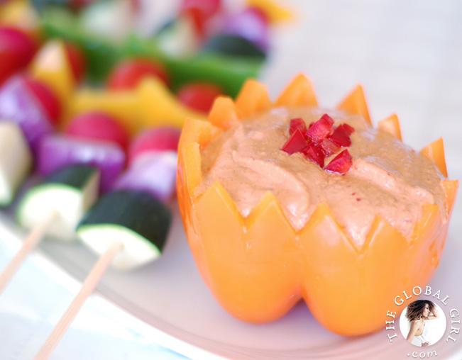 Rainbow Veggie Kabobs with Muhammara Sauce