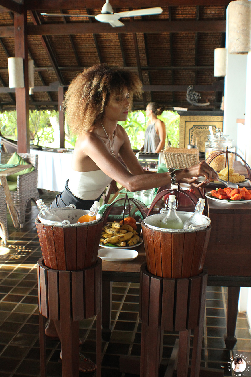 The Global Girl Travels: Ndoema enjoys a tropical breakfast at Glamping Hub's eco-chic beachfront resort in Koh Yao Noi, Thailand.