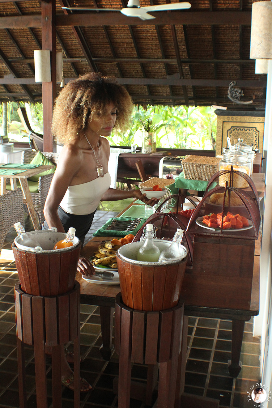 The Global Girl Travels: Ndoema greets the day with a healthy tropical breakfast at Glamping Hub's eco-friendly resort in Ko Yao Noi, Thailand.