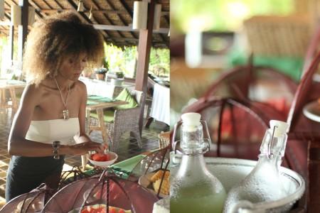 The Global Girl Travels: Ndoema enjoys a tropical breakfast at Glamping Hub's eco-chic beachfront resort in Koh Yao Noi, Thailand.