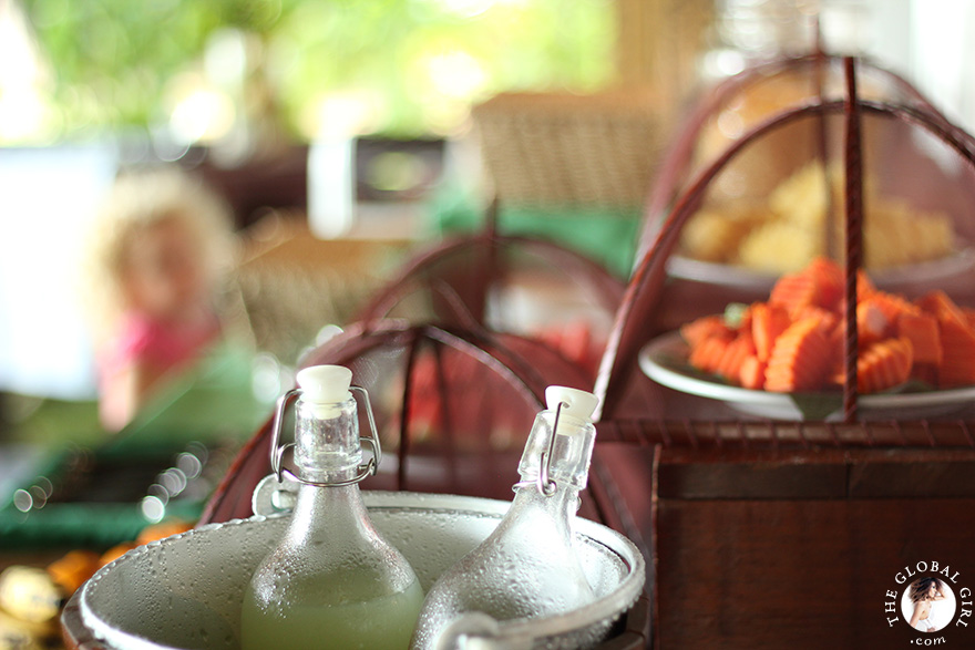 The Global Girl Travels: Tropical breakfast at Glamping Hub's eco-chic beachfront resort in Koh Yao Noi, Thailand.