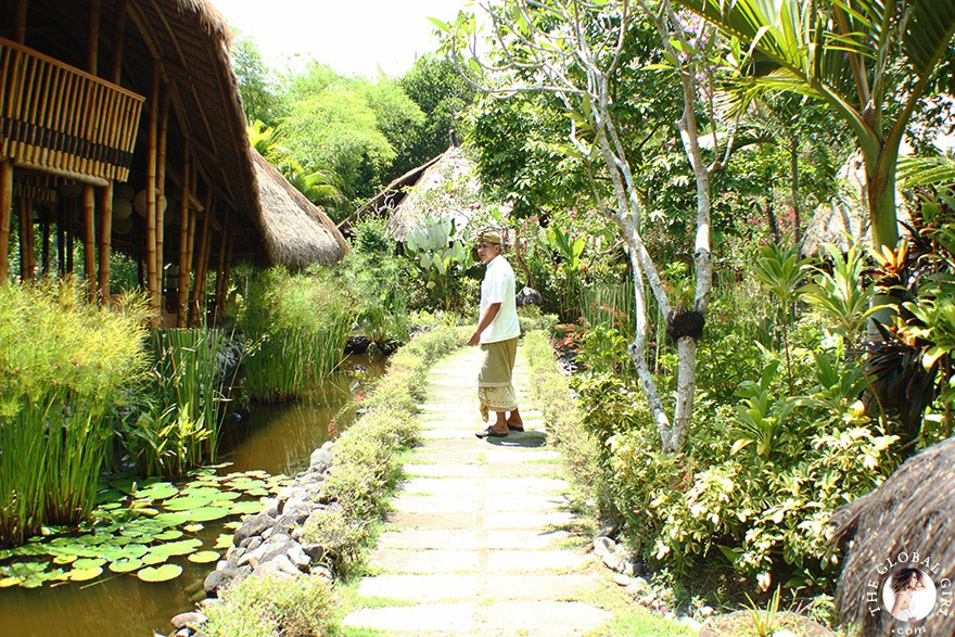 The Global Girl Travels:  Lunch at Five Elements, an eco-conscious wellness retreat, spa and raw living foods restaurant nestled on the banks of the Ayung River in Ubud, Bali.