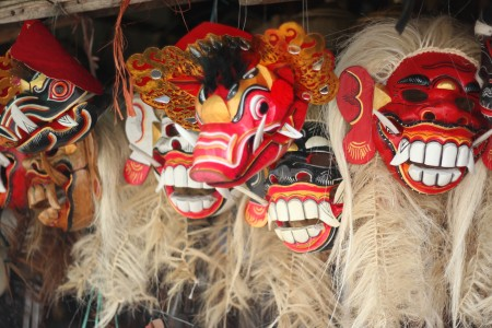 The Global Girl Travels: Balinese demon masks at Candi Kuning market in Bali, Indonesia.