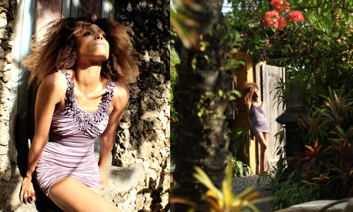 The Global Girl Travels: Ndoema explores the lush tropical gardens of Canggu Beach, Bali.