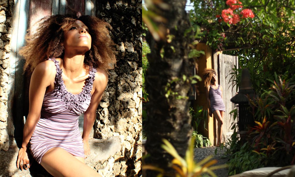 The Global Girl Travels: Ndoema explores the lush tropical gardens of Canggu Beach, Bali.