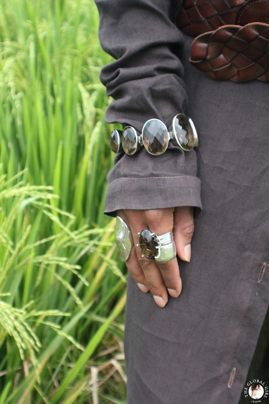 The Global Girl Daily Style: Quartz and sterling sliver jewelry against Ubud's archetypal rice paddy fields in Bali, Indonesia.