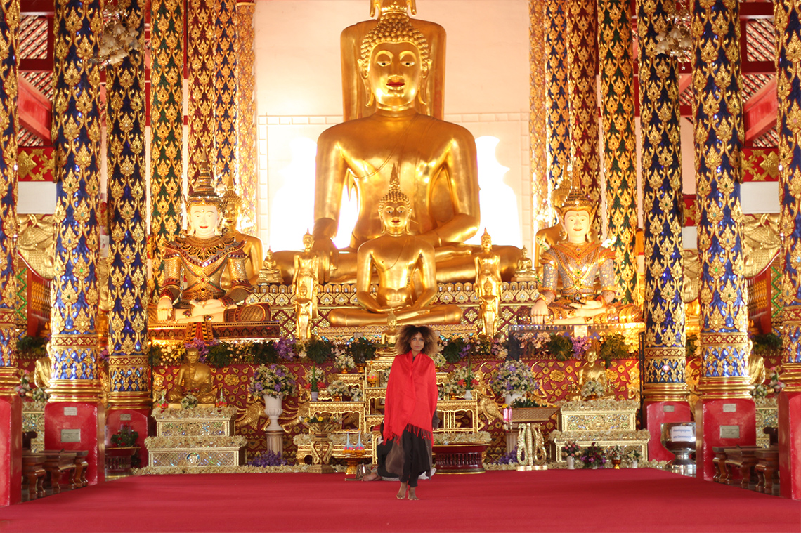 The Global Girl Travels: Ndoema at the Royal Temple of Wat Suan Dok in Chiang Mai, Thailand.