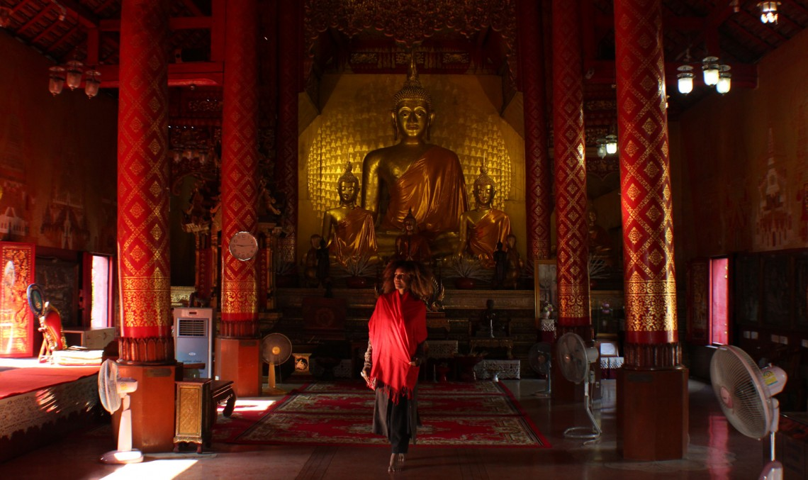 The Global Girl Travels - Thailand: Ndoema at Wat Sri Suphan, one of Chiang Mai's most spectacular sacred sites.