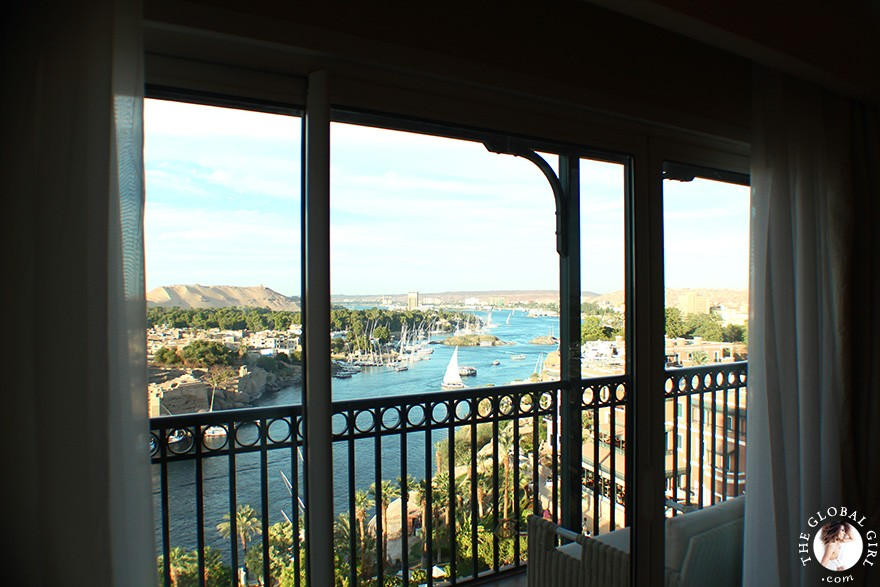The Global Girl Travels: View of the Nile from the Nile Wing suite at The Sofitel Legend Old Cataract Hotel in Aswan, Egypt.