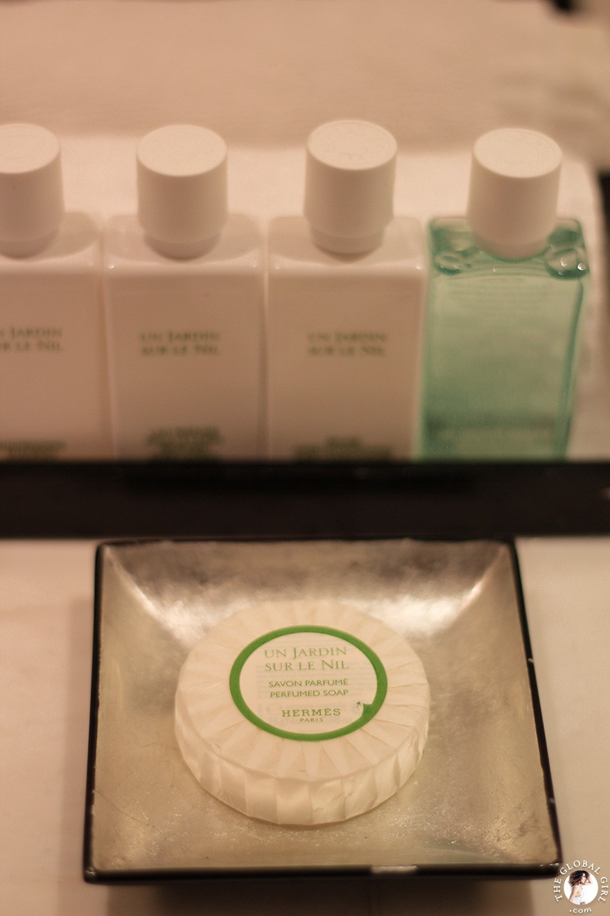 The Global Girl Travels: Hermes toiletries at The Sofitel Legend Old Cataract Hotel in Aswan, Egypt.