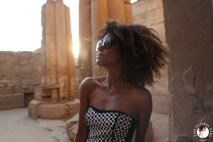 The Global Girl Daily Style: Ndoema sports a bold black and white print bustier at the Luxor Temple, Egypt.