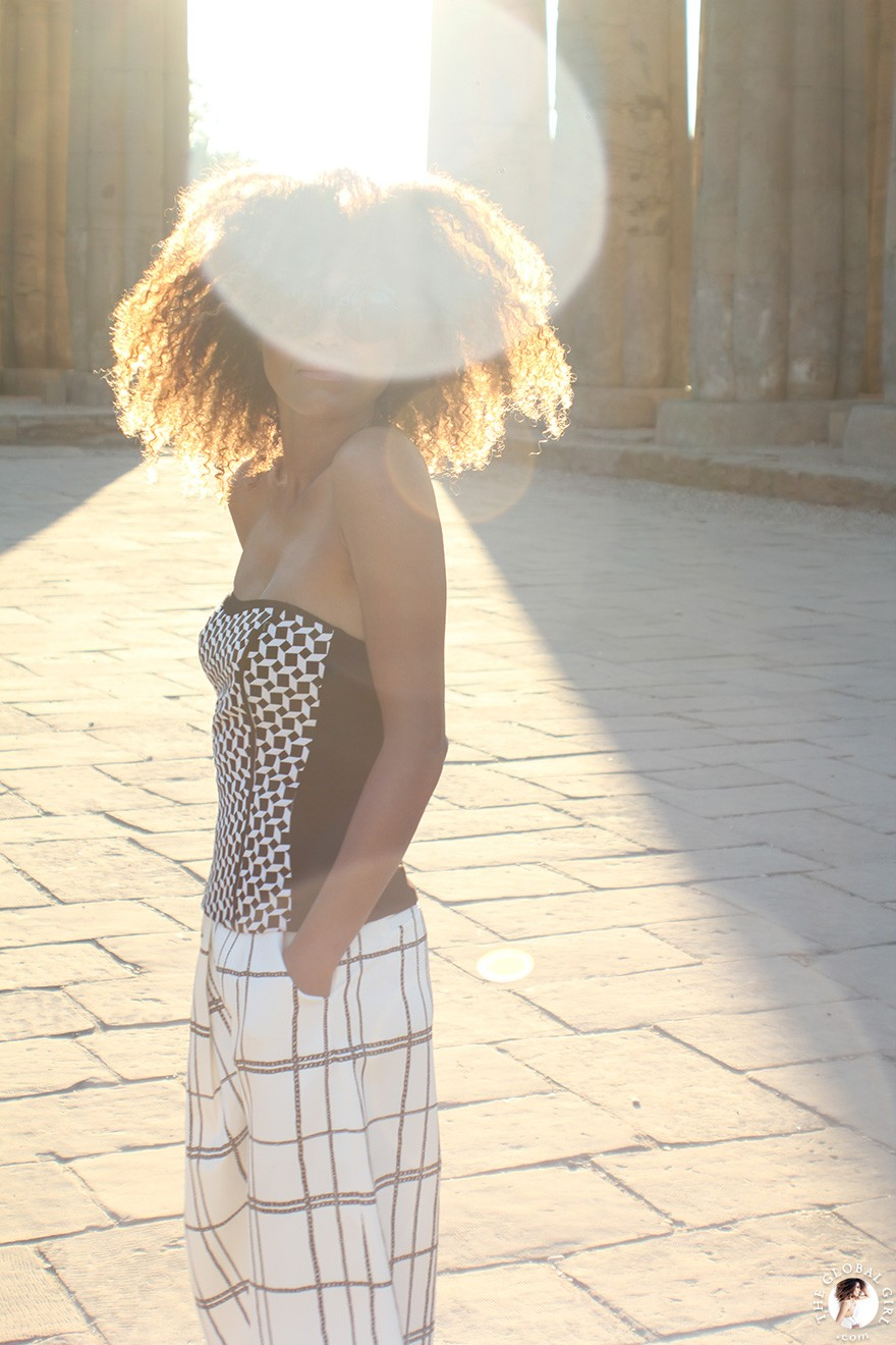 The Global Girl Daily Style: Ndoema rocks a bold black and white print clash style at the Luxor Temple, Egypt.