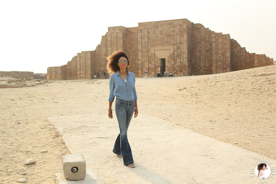 The Global Girl Travels: Ndoema sports an all denim look on a visit to Saqqara, Egypt.