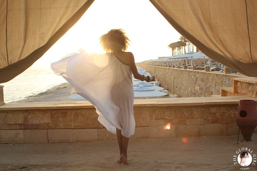 The Global Girl Editorials: Ndoema channels her inner goddess in a one-shoulder pleated dress at The Red Sea Riviera in Marsa Alam, Egypt.