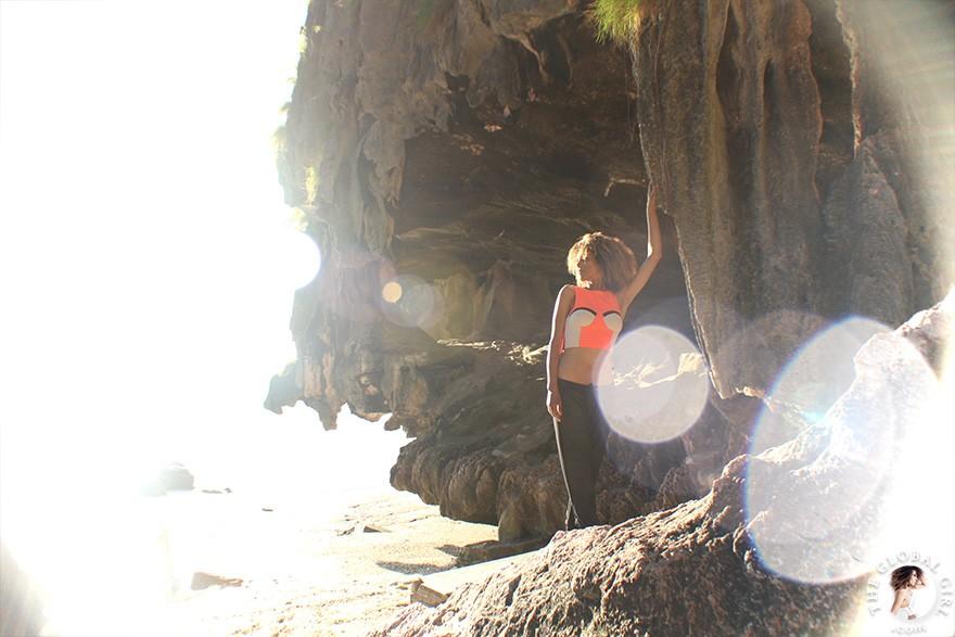 The Global Girl Daily Style: Ndoema rocks the color block look on James Bond Island in the Phang Nga Bay, Thailand.