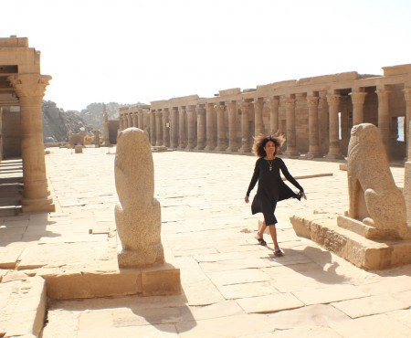 The Global Girl Travels: Ndoema at the Philae Temple in Aswan, upper Egypt.