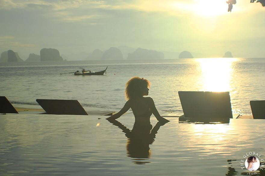 The Global Girl Travels: Ndoema greets the sunrise at Koh Yao Noi, Thailand's last unspoiled paradise.