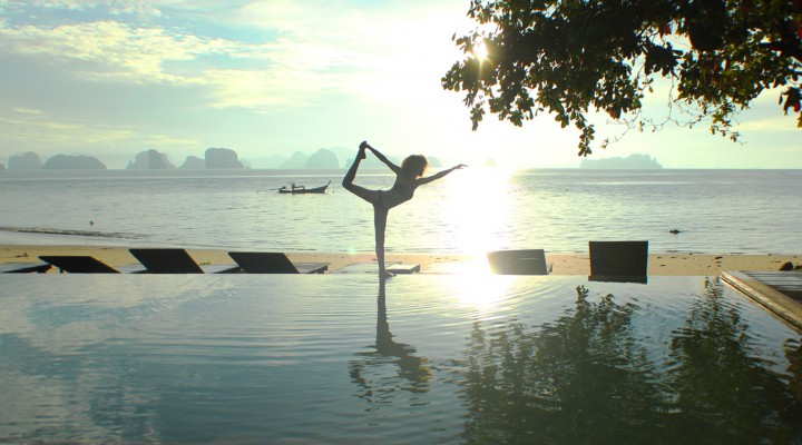 The Global Girl Travels: Ndoema greets the sunrise with centering meditation and yoga at Koh Yao Noi, Thailand.