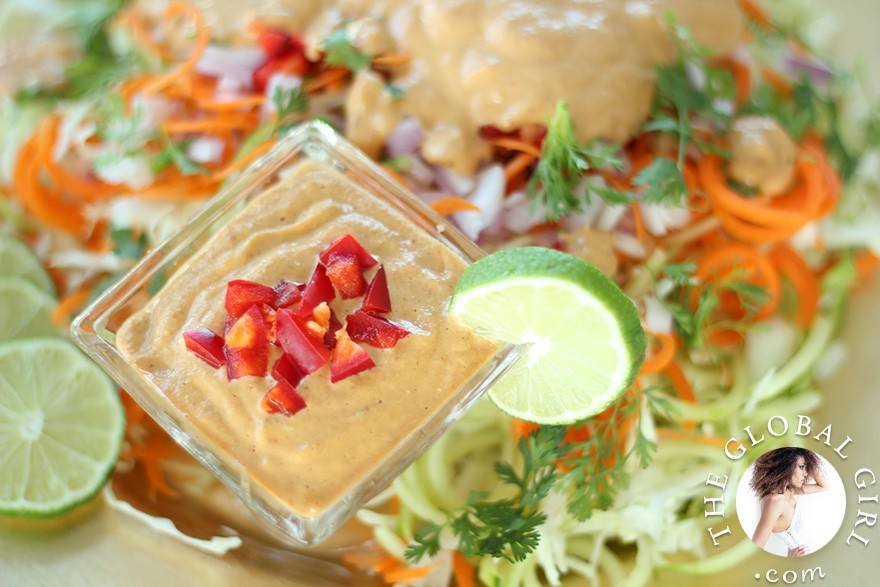 The Global Girl Raw Food Recipes: Cucumber pasta with a creamy Indonesian peanut sauce. Super light yet filling. A great healthy lunch or dinner recipe that's 100% raw, vegan, dairy free, gluten free, wheat free and oil free.