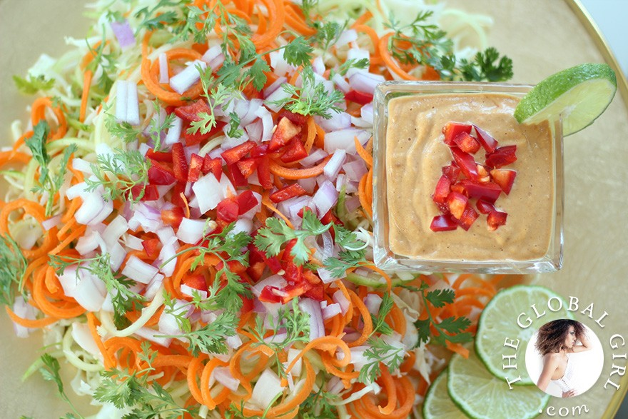 The Global Girl Raw Food Recipes: Cucumber pasta with Indonesian peanut sauce. Super light yet filling. A great healthy lunch or dinner recipe that's 100% raw, vegan, dairy free, gluten free, wheat free and oil free.