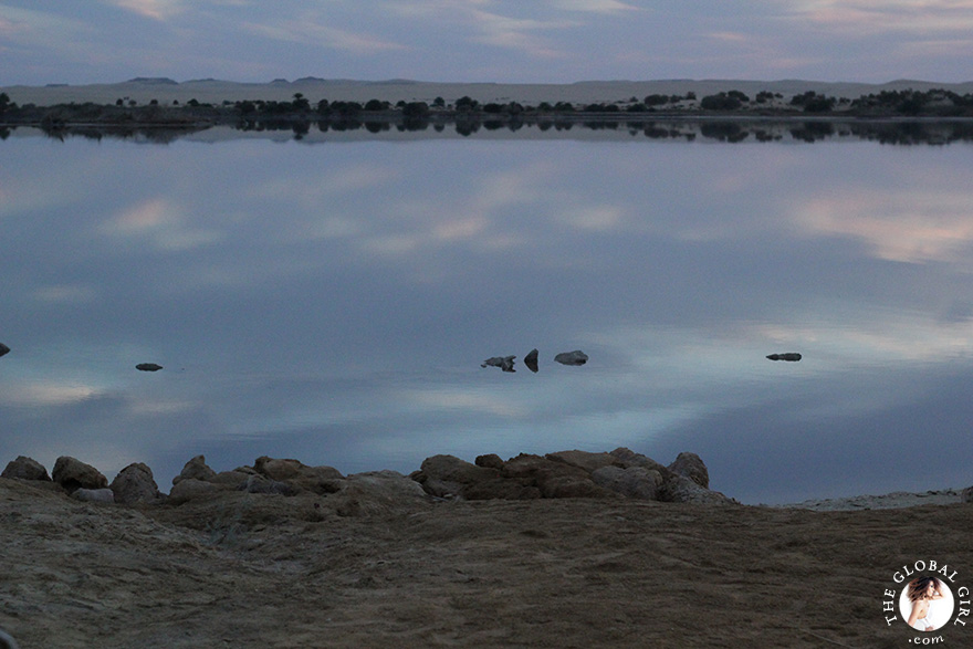 The Global Girl Travels: The healing Siwa salt lake at the Adrère Amellal luxury eco-friendly desert resort at Siwa Oasis, Egypt.