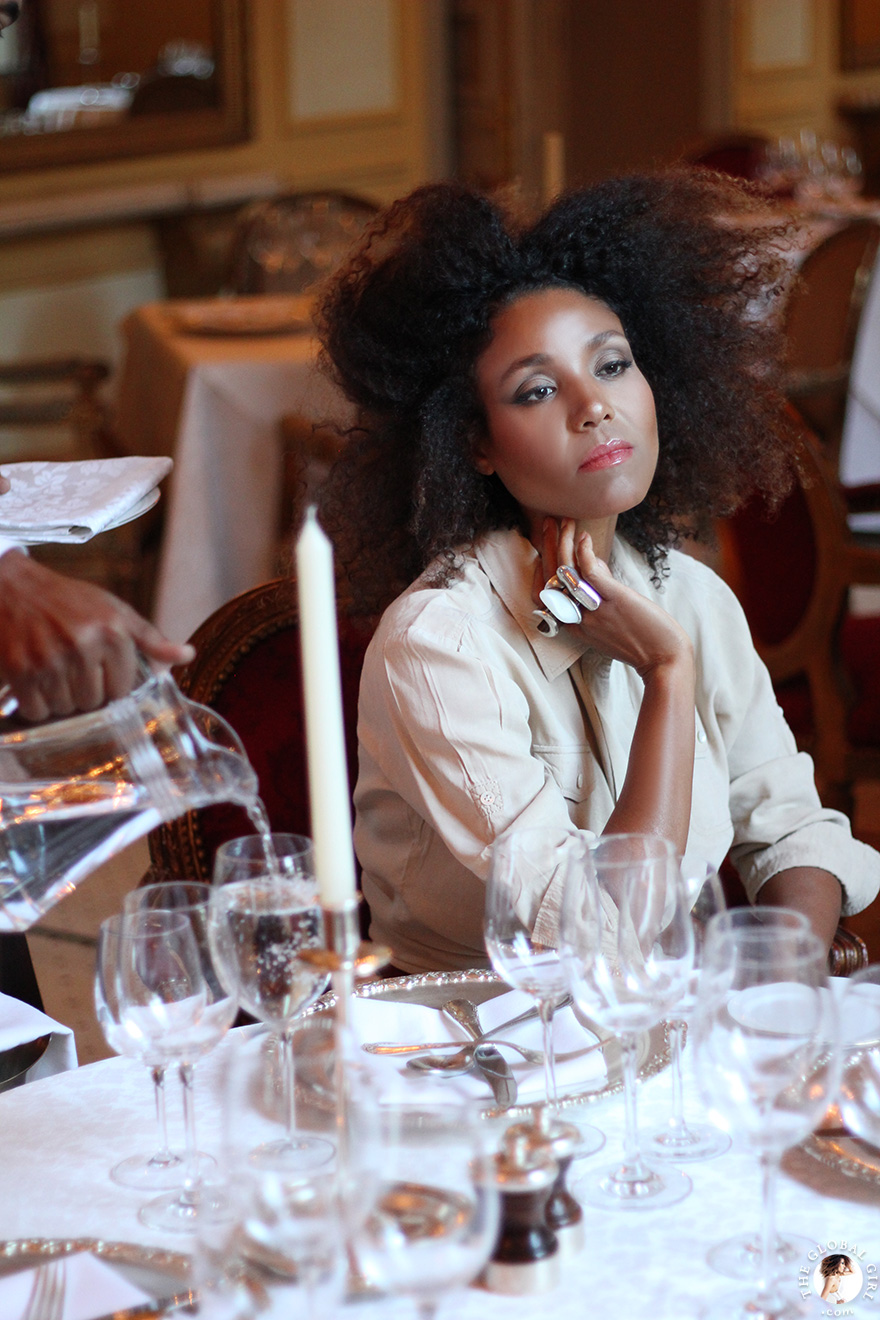The Global Girl Travels: Ndoema has a princess moment at the 1886 restaurant at the Sofitel Winter Palace in Luxor, Egypt.