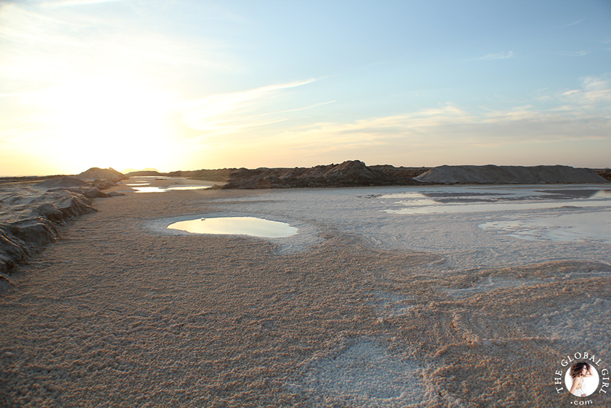 The Global Girl Travels: Sunset at a local salt mine, at Siwa Oasis, Egypt.