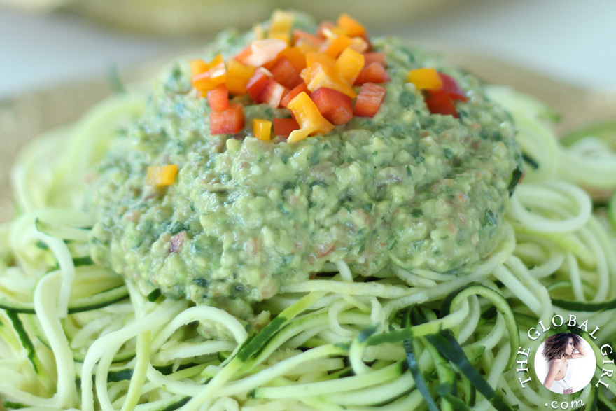 Raw Vegan Avocado Basil Sauce with Zucchini Noodles