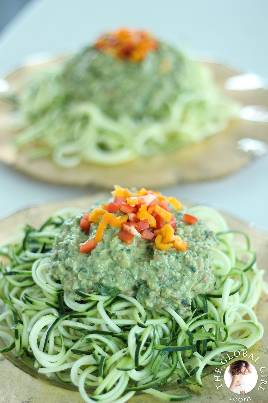 Zucchini pasta with avocado basil sauce the global girl the global girl raw food recipes raw vegan avocado basil sauce over zucchini noodles forumfinder Images