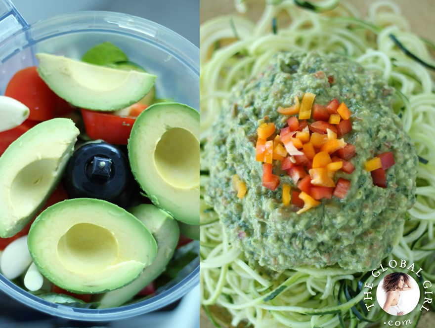 The Global Girl Raw Food Recipes: Raw vegan avocado basil sauce over zucchini noodles.