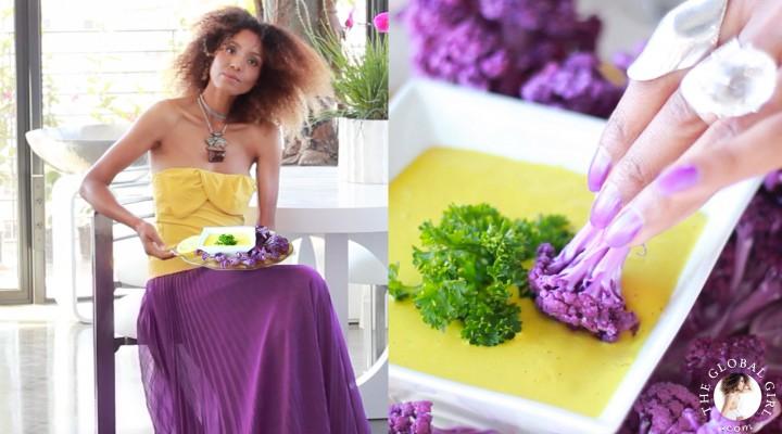 Antioxidant Rich Turmeric Dip with Purple Cauliflower