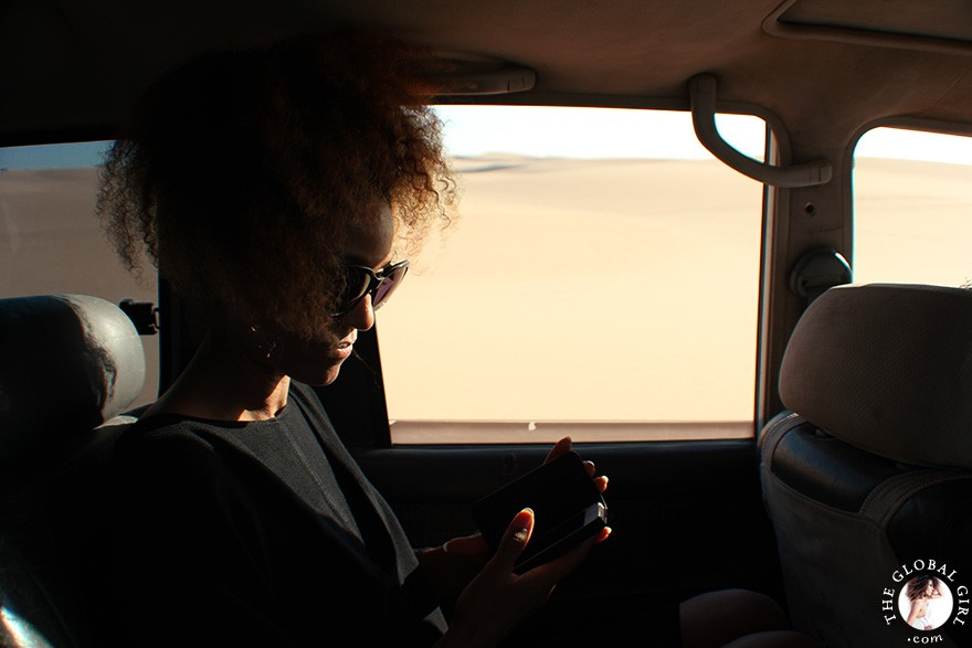 The Global Girl Travels: Ndoema on a safari in the Libyan desert - Sahara, North Africa.