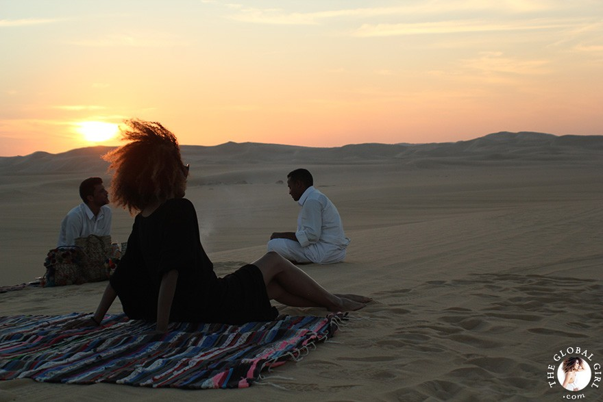 The Global Girl Travels: Ndoema is treated to a traditional Berber Tea in the Sahara Desert, Siwa Oasis - Egypt.