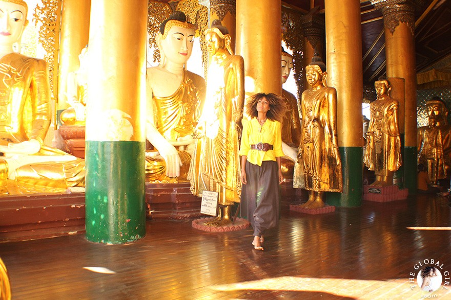 The Global Girl Travels: Ndoema at Shwedagon Pagoda in Yangon, Burma.