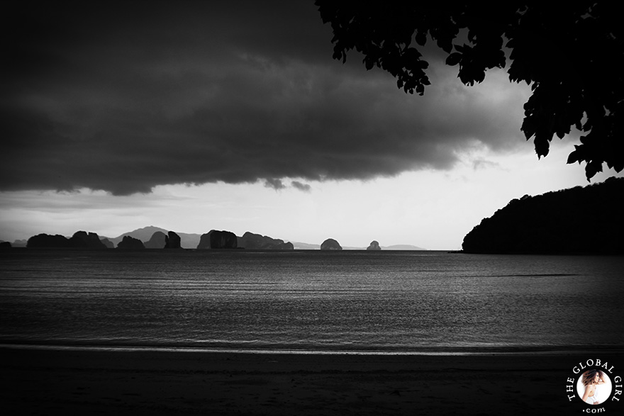 The Global Girl Travels: Thunder storm on a secluded beach on Ko Yao Noi Island in the Andaman Sea, Southern Thailand.