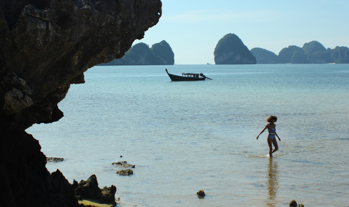 The Global Girl Travels: Ndoema at Koh Pakbia Island Beach in the Andaman Sea, Southern Thailand.