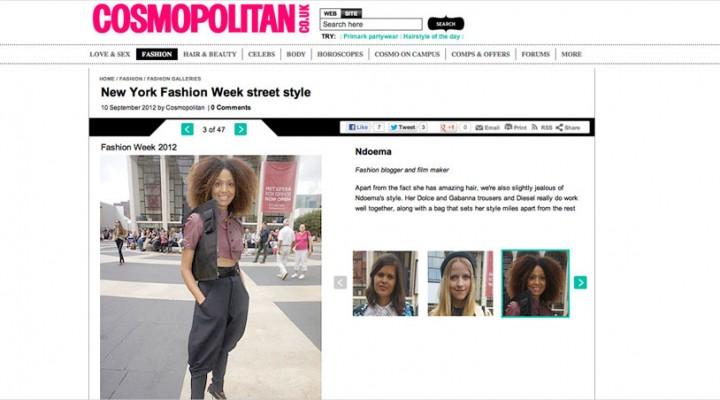 Ndoema makes the New York Fashion Week Best-Dressed list in Cosmopolitan UK