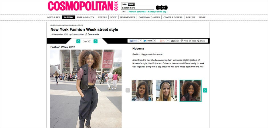 Ndoema makes the New York Fashion Week Best-Dressed list in Cosmopolitan UK