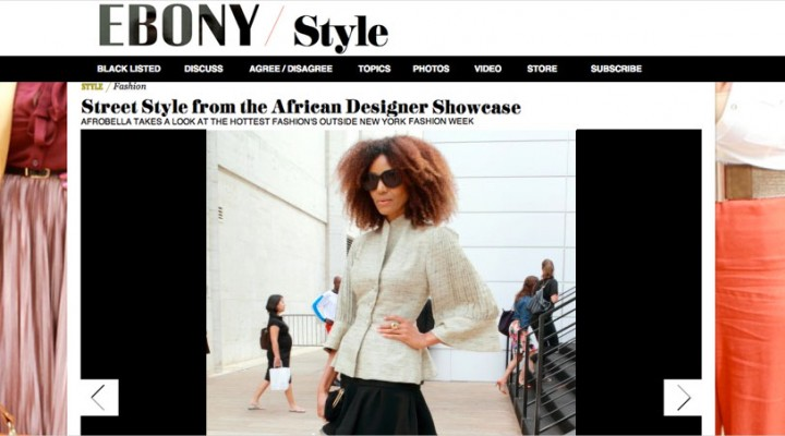"""Ndoema is featured in Ebony Magazine as she arrives at the African Designer Showcase """"Arise"""" during New York Fashion Week"""