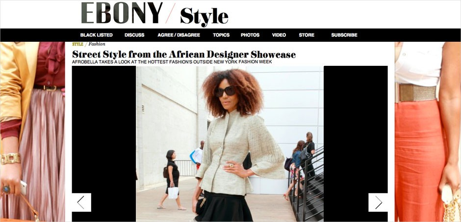"Ndoema is featured in Ebony Magazine as she arrives at the African Designer Showcase ""Arise"" during New York Fashion Week"