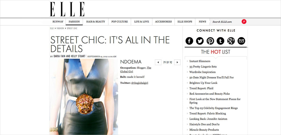 Ndoema featured in Elle Magazine wearing a Tibetan-inspired belt of her own design. A vintage leather dress, Report Signature shoesand Emanuel Ungaro bag.