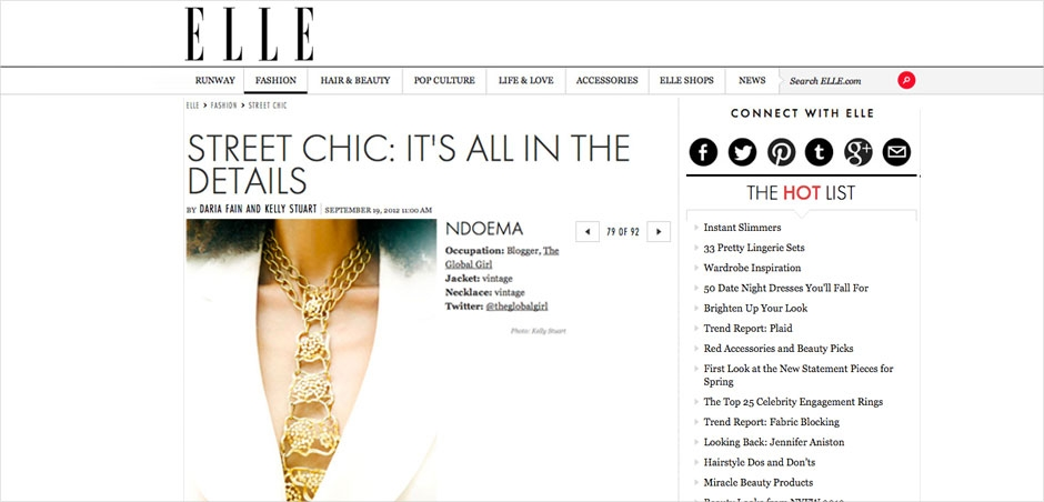 Ndoema is featured in Elle Magazine during New York Fashion Week