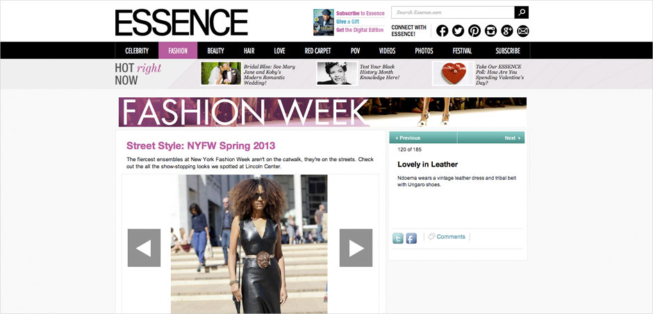 Ndoema The Global Girl featured in Essence Magazine arriving at the Lincoln Center during New York Fashion Week.
