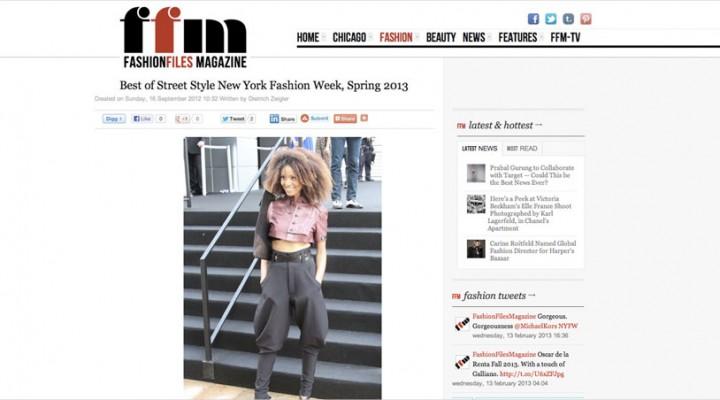 Ndoema The Global Girl featured in Fashion Files Magazine during New York Fashion Week.