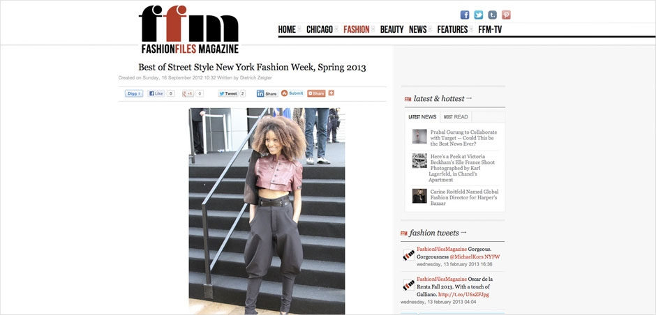 Ndoema The Global Girl featured in Fashion Files Magazine during New York Fashion Week.