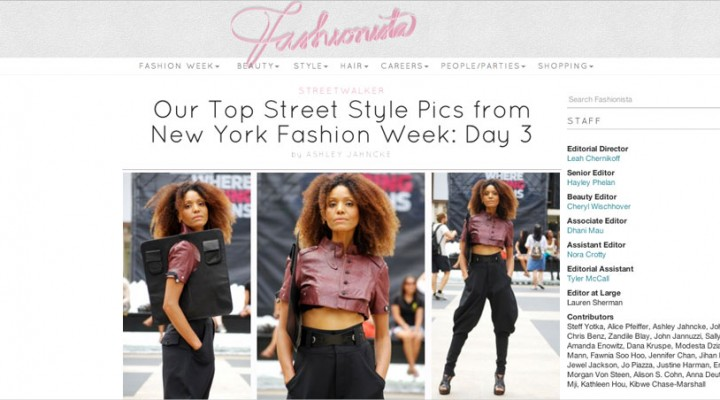 Ndoema The Global Girl featured in Fashionista during New York Fashion Week wearing Diesel, Dolce and Gabbana and BCBG Max Azria